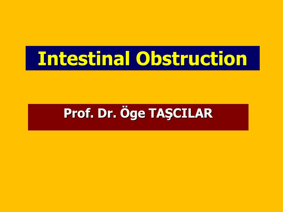 Intestinal Obstruction Prof. Dr. Öge TAŞCILAR