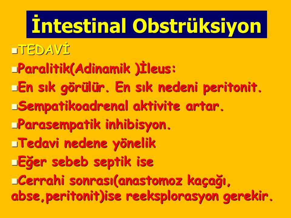 İntestinal Obstrüksiyon TEDAVİ TEDAVİ Paralitik(Adinamik )İleus: Paralitik(Adinamik )İleus: En sık görülür. En sık nedeni peritonit. En sık görülür. E