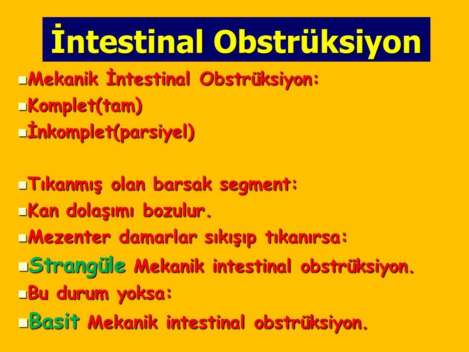 İntestinal Obstrüksiyon Mekanik İntestinal Obstrüksiyon: Mekanik İntestinal Obstrüksiyon: Komplet(tam) Komplet(tam) İnkomplet(parsiyel) İnkomplet(pars