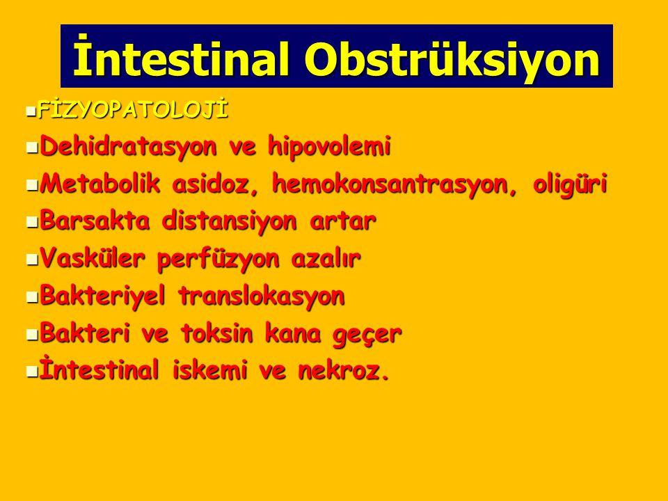 İntestinal Obstrüksiyon FİZYOPATOLOJİ FİZYOPATOLOJİ Dehidratasyon ve hipovolemi Dehidratasyon ve hipovolemi Metabolik asidoz, hemokonsantrasyon, oligü