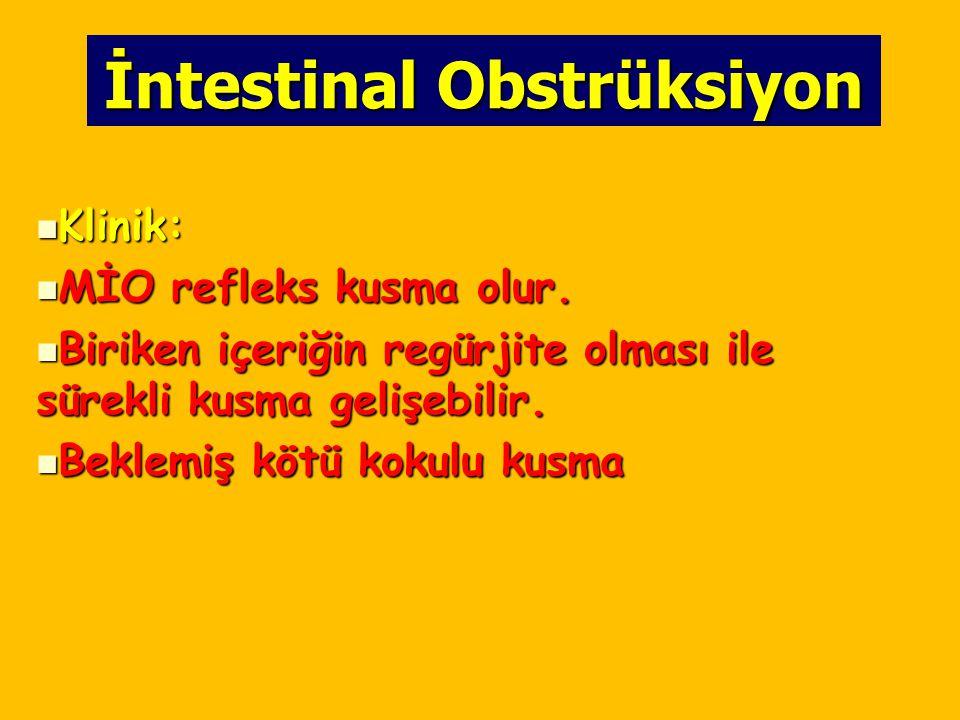 İntestinal Obstrüksiyon Klinik: Klinik: MİO refleks kusma olur. MİO refleks kusma olur. Biriken içeriğin regürjite olması ile sürekli kusma gelişebili