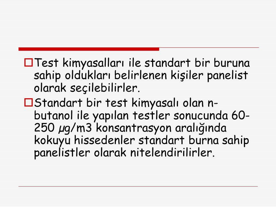  Test kimyasalları ile standart bir buruna sahip oldukları belirlenen kişiler panelist olarak seçilebilirler.  Standart bir test kimyasalı olan n- b