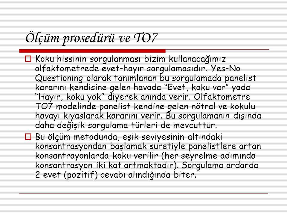 Ölçüm prosedürü ve TO7  Koku hissinin sorgulanması bizim kullanacağımız olfaktometrede evet-hayır sorgulamasıdır.