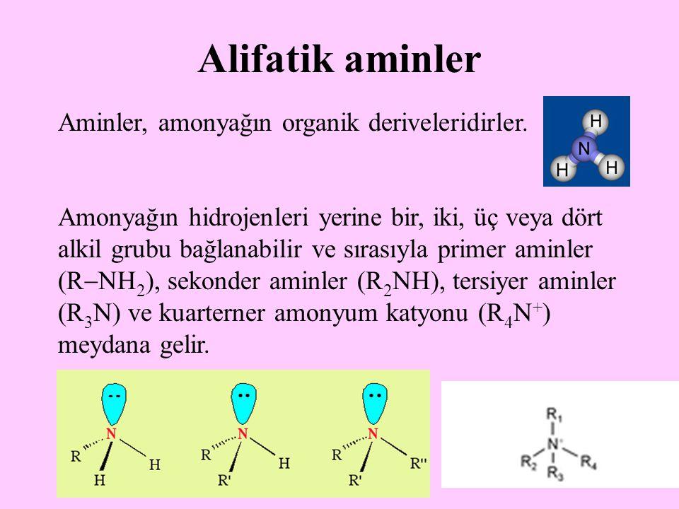 25 Alifatik aminler Aminler, amonyağın organik deriveleridirler.