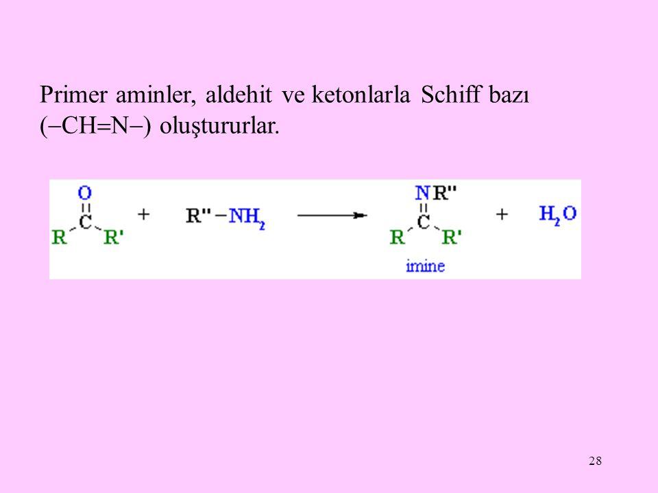 28 Primer aminler, aldehit ve ketonlarla Schiff bazı (  CH  N  ) oluştururlar.