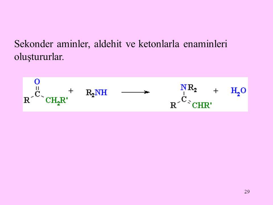 29 Sekonder aminler, aldehit ve ketonlarla enaminleri oluştururlar.