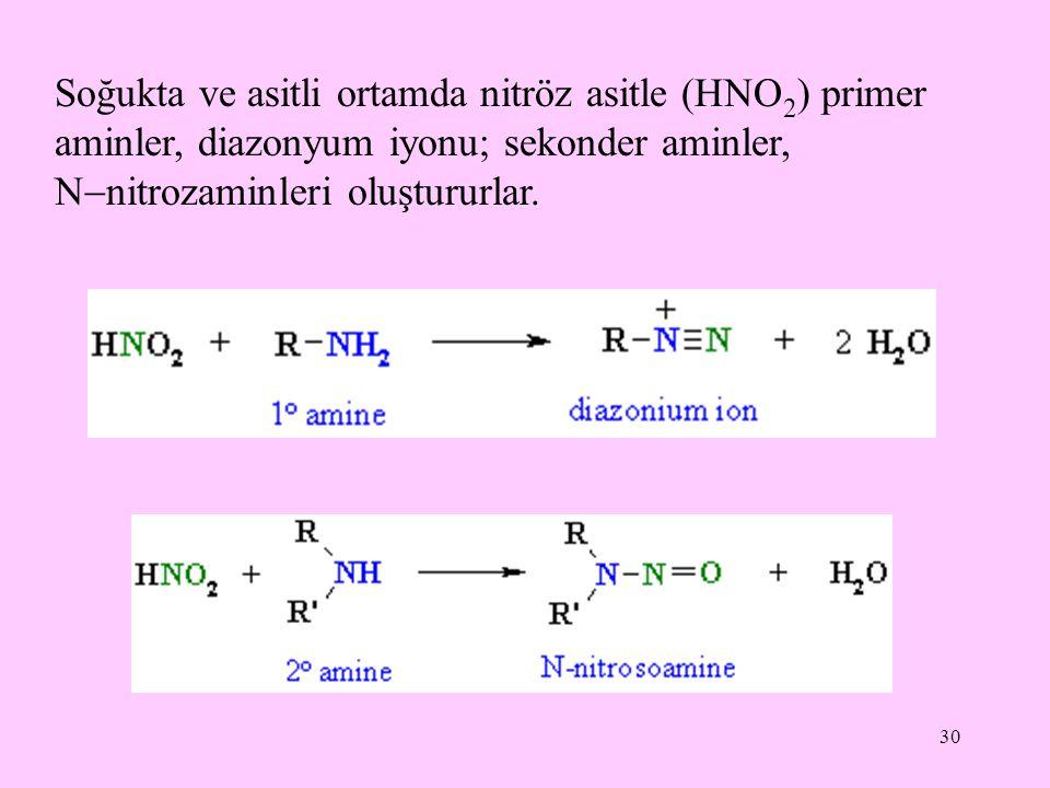 30 Soğukta ve asitli ortamda nitröz asitle (HNO 2 ) primer aminler, diazonyum iyonu; sekonder aminler, N  nitrozaminleri oluştururlar.