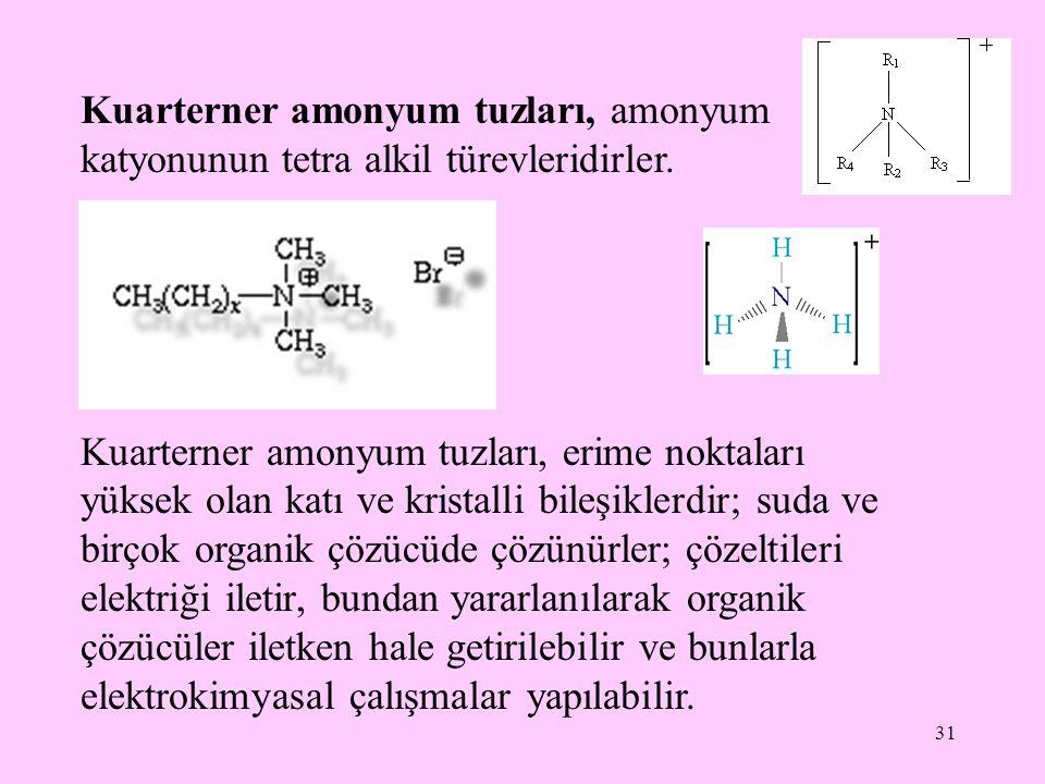 31 Kuarterner amonyum tuzları, amonyum katyonunun tetra alkil türevleridirler.