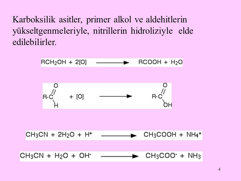 4 Karboksilik asitler, primer alkol ve aldehitlerin yükseltgenmeleriyle, nitrillerin hidroliziyle elde edilebilirler.