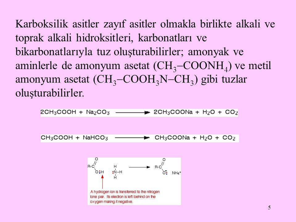 5 Karboksilik asitler zayıf asitler olmakla birlikte alkali ve toprak alkali hidroksitleri, karbonatları ve bikarbonatlarıyla tuz oluşturabilirler; amonyak ve aminlerle de amonyum asetat (CH 3  COONH 4 ) ve metil amonyum asetat (CH 3  COOH 3 N  CH 3 ) gibi tuzlar oluşturabilirler.