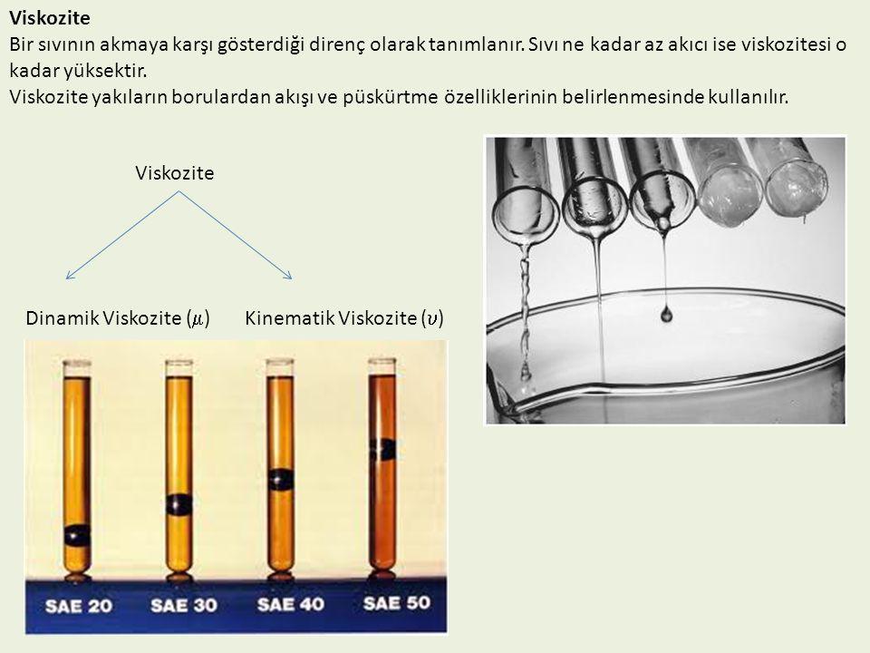 Viskozite Bir sıvının akmaya karşı gösterdiği direnç olarak tanımlanır. Sıvı ne kadar az akıcı ise viskozitesi o kadar yüksektir. Viskozite yakıların