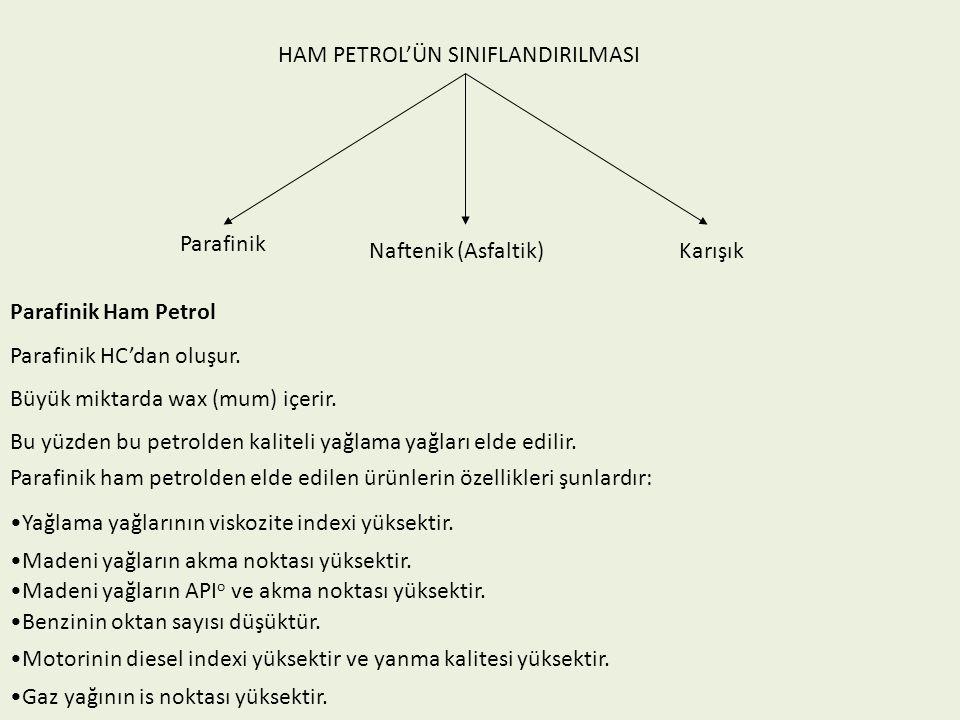 HAM PETROL'ÜN SINIFLANDIRILMASI Parafinik Naftenik (Asfaltik) Karışık Parafinik Ham Petrol Parafinik HC'dan oluşur. Büyük miktarda wax (mum) içerir. B