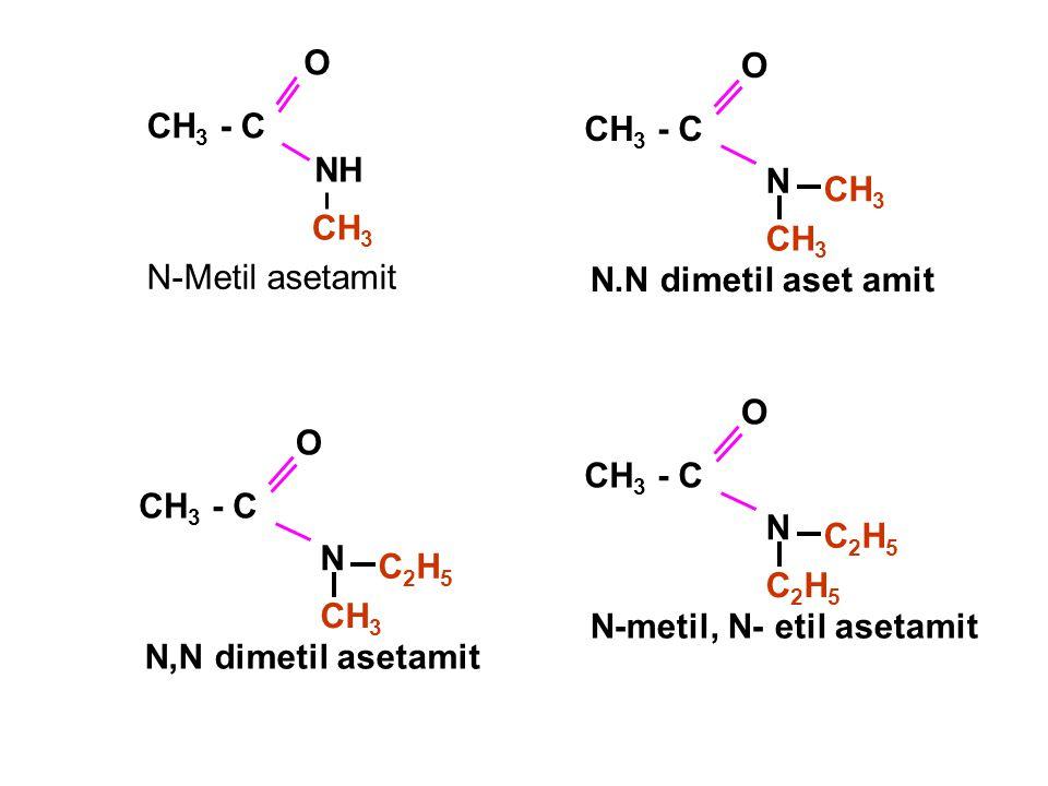 NH O CH 3 - C CH 3 N-Metil asetamit CH 3 N O CH 3 - C CH 3 N.N dimetil aset amit CH 3 N O CH 3 - C C2H5C2H5 N,N dimetil asetamit C2H5C2H5 N O CH 3 - C C2H5C2H5 N-metil, N- etil asetamit