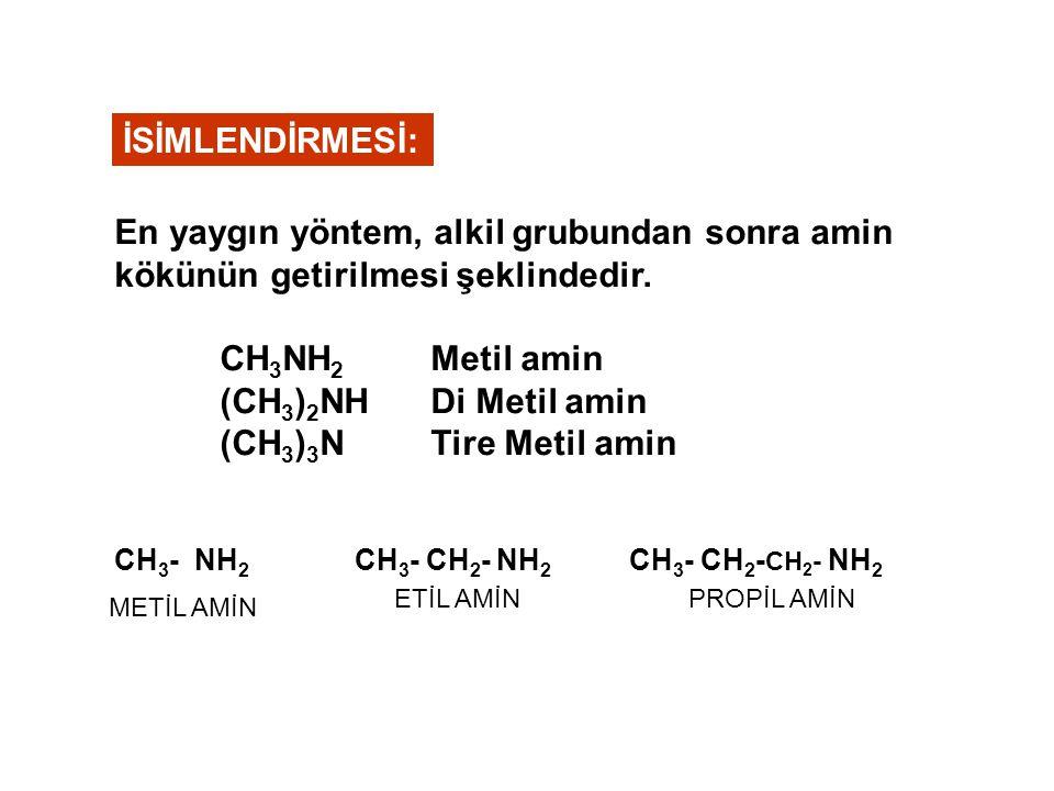 CH 3 CH 3 -CH-NH2 CH 3 -NH- C 2 H 5 İZO-PROPİLAMİN ETİL-METİLAMİN CH 3 CH 3 -CH-NH-C 2 H 5 ETİL İZO-PROPİLAMİN TREMETİLAMİN CH 3 CH 3 -N- CH 3 CH 3 C 2 H 5 -N- C 2 H 5 DİETİL METİL AMİN C2H5C2H5 CH 3 -N- CH 2 -CH 2 -CH 3 ETİL-METİL-n-PROPİL AMİN Basit Amin Karışık Amin ÖRNEK: