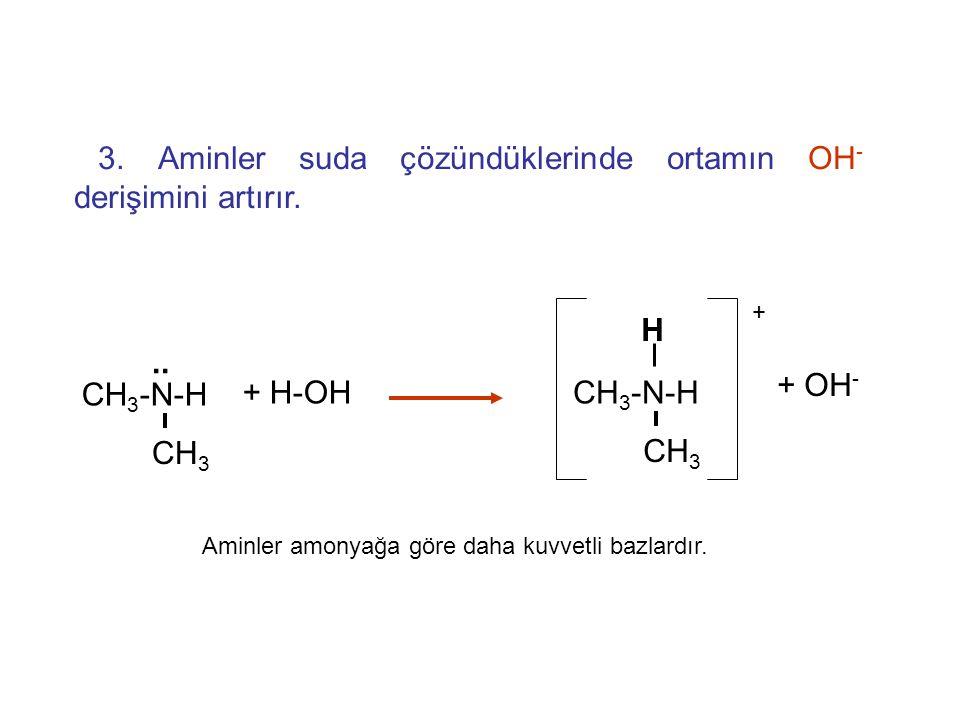 3. Aminler asitlerle tepkimeye girerek tuzları oluştururlar. CH 3 -NH 2 + H-Cl CH 3 -NH 3 Cl