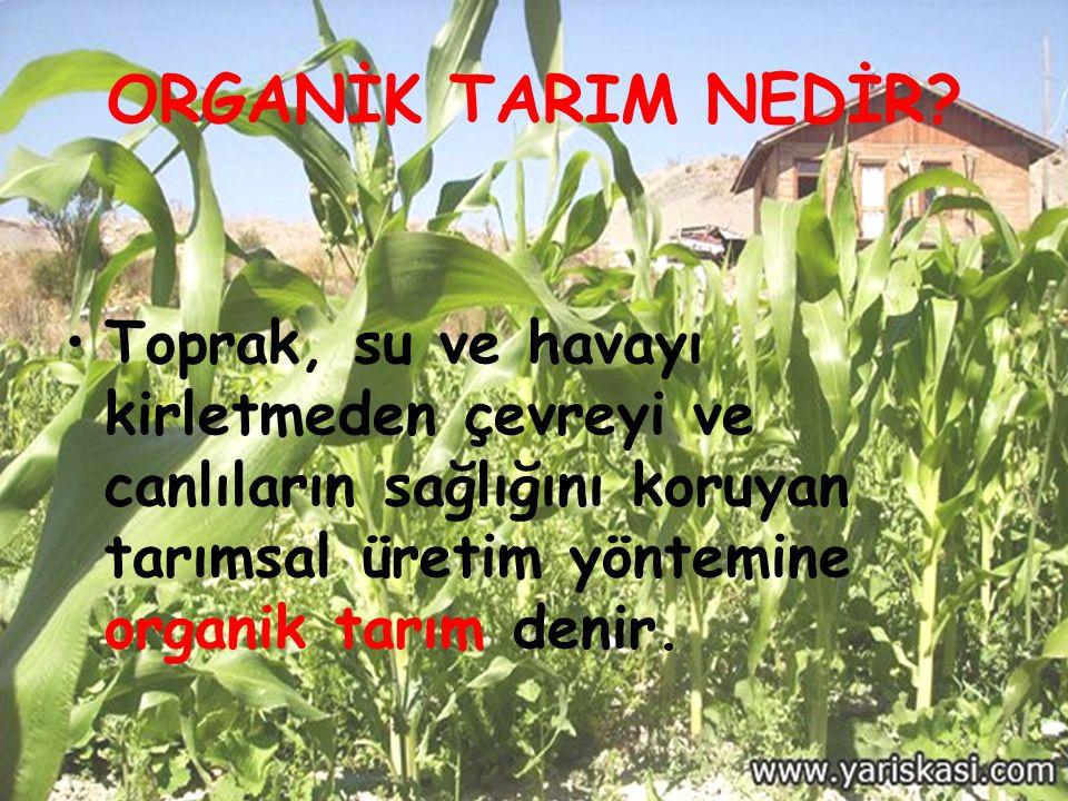 ORGANİK TARIM NEDİR? Toprak, su ve havayı kirletmeden çevreyi ve canlıların sağlığını koruyan tarımsal üretim yöntemine organik tarım denir.