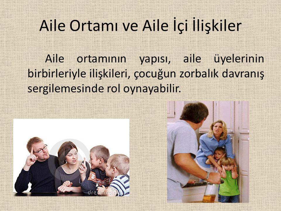 Aile Ortamı ve Aile İçi İlişkiler Aile ortamının yapısı, aile üyelerinin birbirleriyle ilişkileri, çocuğun zorbalık davranış sergilemesinde rol oynaya