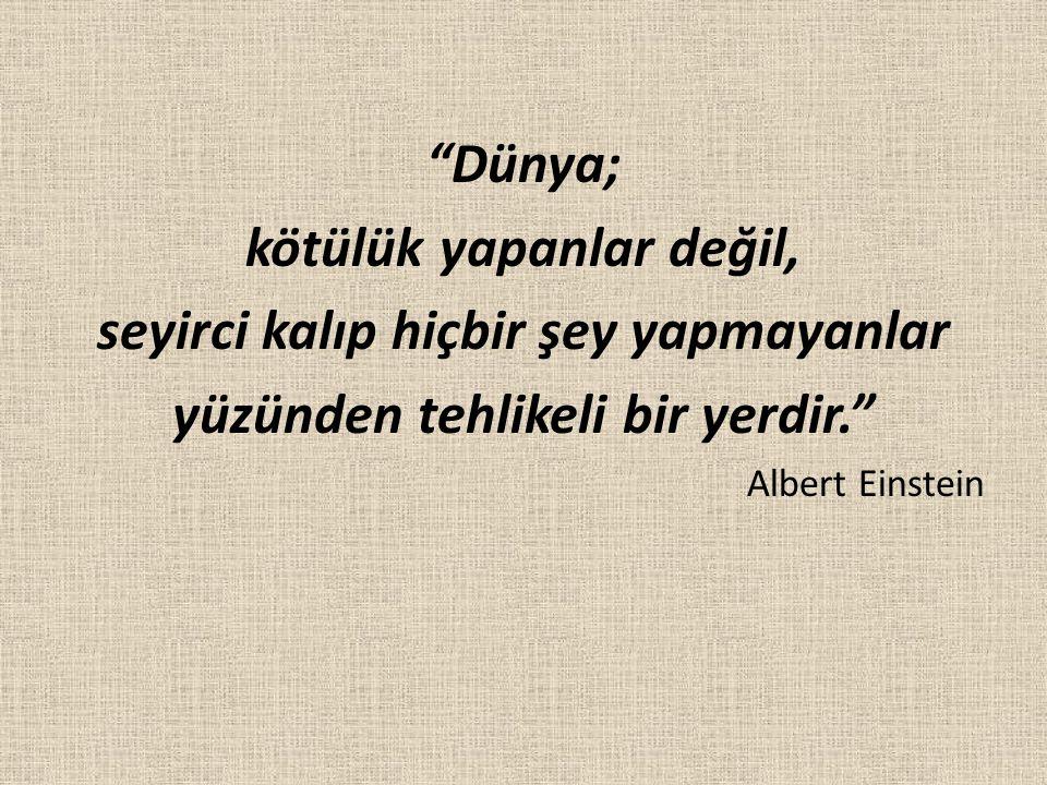 """""""Dünya; kötülük yapanlar değil, seyirci kalıp hiçbir şey yapmayanlar yüzünden tehlikeli bir yerdir."""" Albert Einstein"""