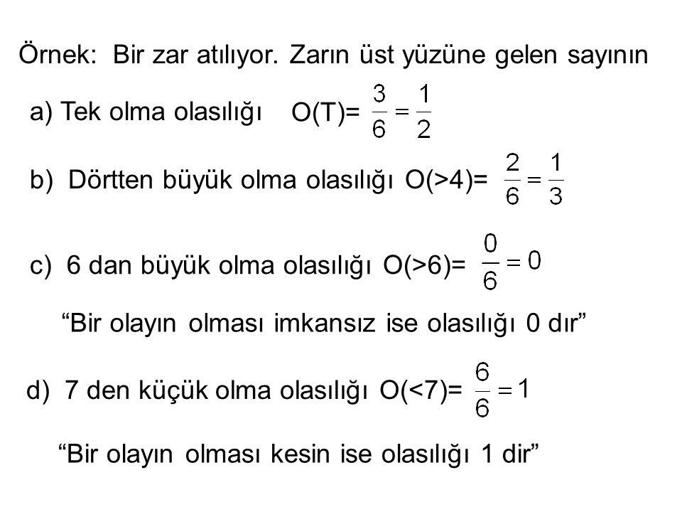 Örnek: Bir zar atılıyor. Zarın üst yüzüne gelen sayının a) Tek olma olasılığı O(T)= b) Dörtten büyük olma olasılığı O(>4)= c) 6 dan büyük olma olasılı