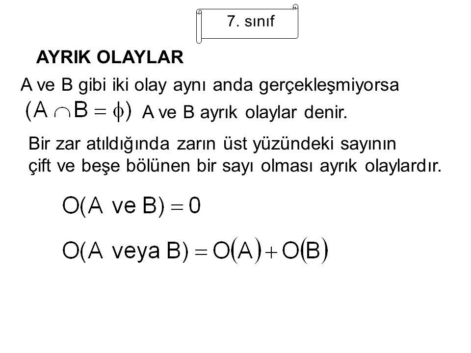 7. sınıf AYRIK OLAYLAR A ve B gibi iki olay aynı anda gerçekleşmiyorsa A ve B ayrık olaylar denir. Bir zar atıldığında zarın üst yüzündeki sayının çif