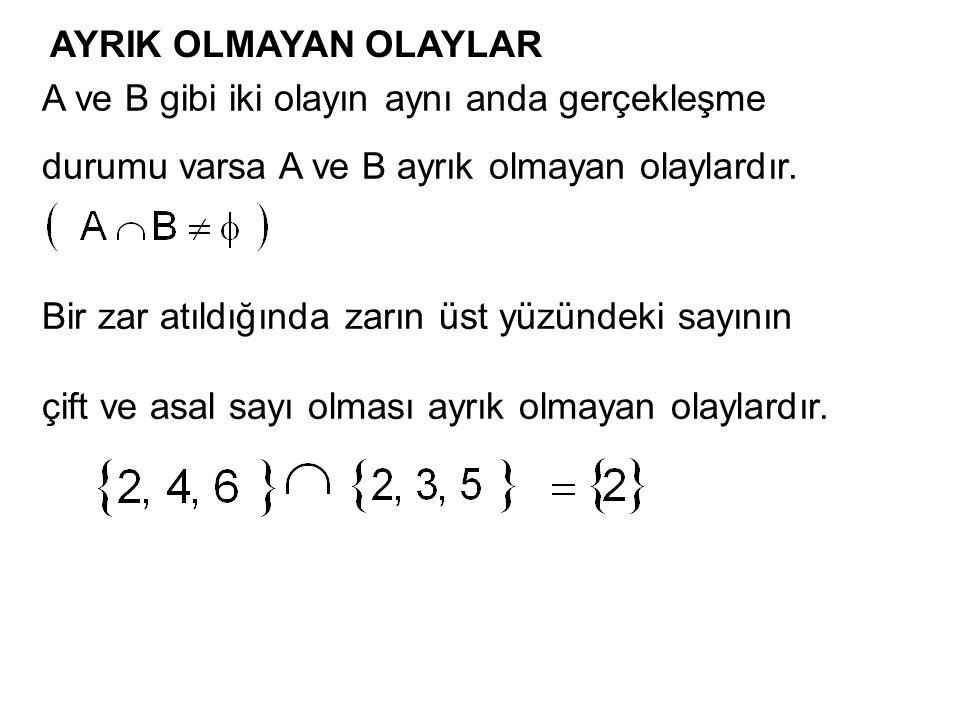 AYRIK OLMAYAN OLAYLAR A ve B gibi iki olayın aynı anda gerçekleşme durumu varsa A ve B ayrık olmayan olaylardır. Bir zar atıldığında zarın üst yüzünde
