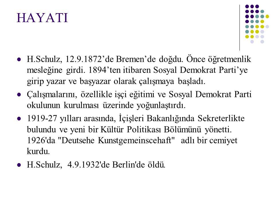 HAYATI H.Schulz, 12.9.1872'de Bremen'de doğdu. Önce öğretmenlik mesleğine girdi. 1894'ten itibaren Sosyal Demokrat Parti'ye girip yazar ve başyazar ol