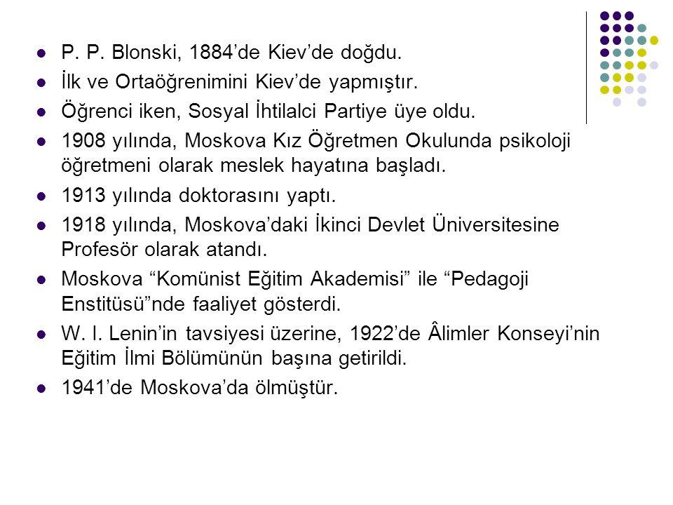 P. P. Blonski, 1884'de Kiev'de doğdu. İlk ve Ortaöğrenimini Kiev'de yapmıştır. Öğrenci iken, Sosyal İhtilalci Partiye üye oldu. 1908 yılında, Moskova