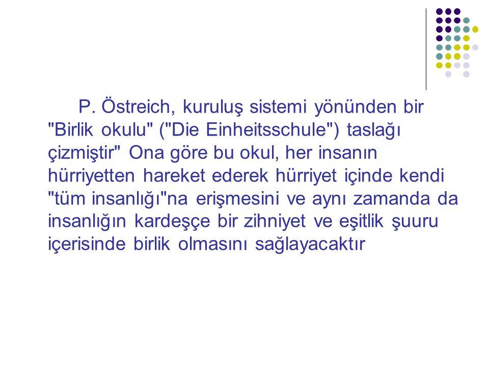 P. Östreich, kuruluş sistemi yönünden bir