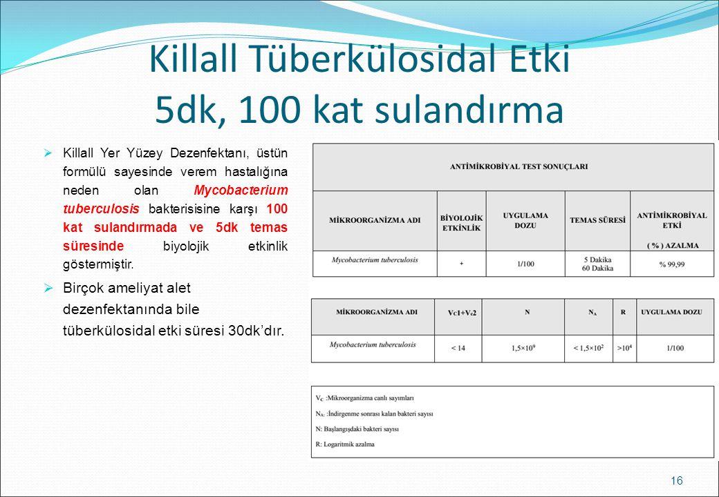 Killall Tüberkülosidal Etki 5dk, 100 kat sulandırma  Killall Yer Yüzey Dezenfektanı, üstün formülü sayesinde verem hastalığına neden olan Mycobacteri