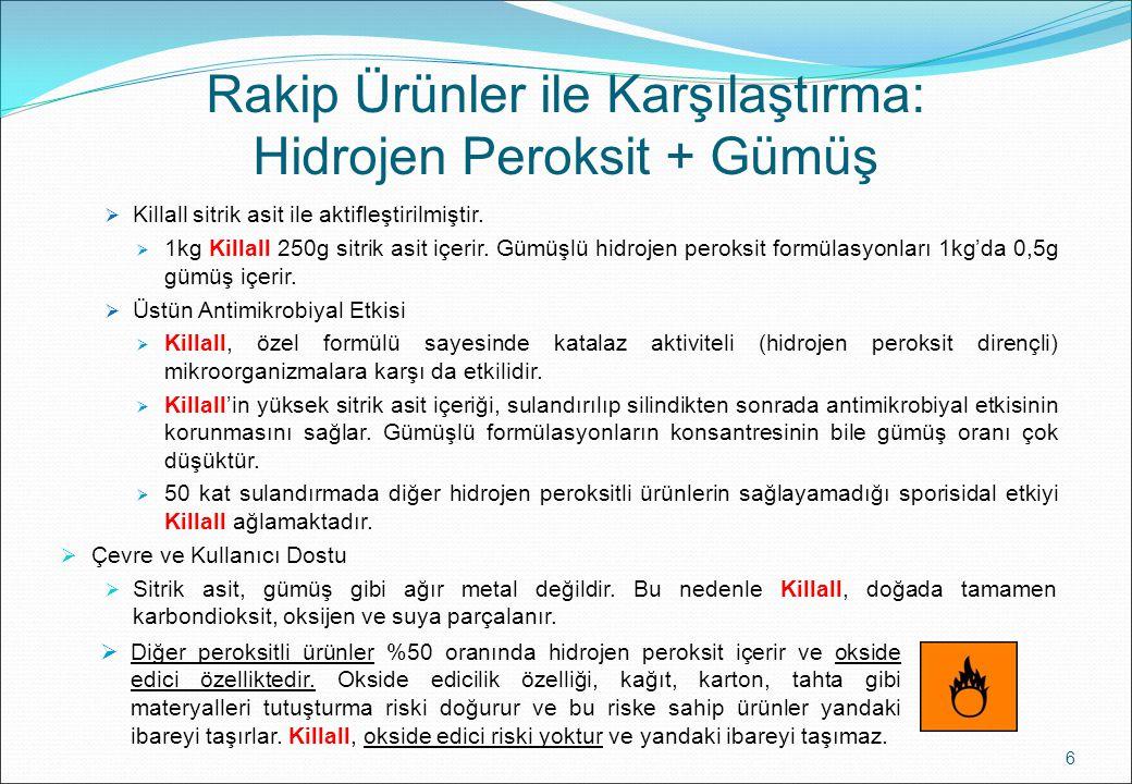 Rakip Ürünler ile Karşılaştırma: Hidrojen Peroksit + Gümüş  Killall sitrik asit ile aktifleştirilmiştir.  1kg Killall 250g sitrik asit içerir. Gümüş