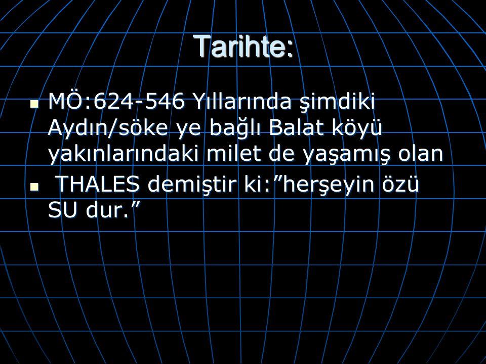 Tarihte: MÖ:624-546 Yıllarında şimdiki Aydın/söke ye bağlı Balat köyü yakınlarındaki milet de yaşamış olan MÖ:624-546 Yıllarında şimdiki Aydın/söke ye