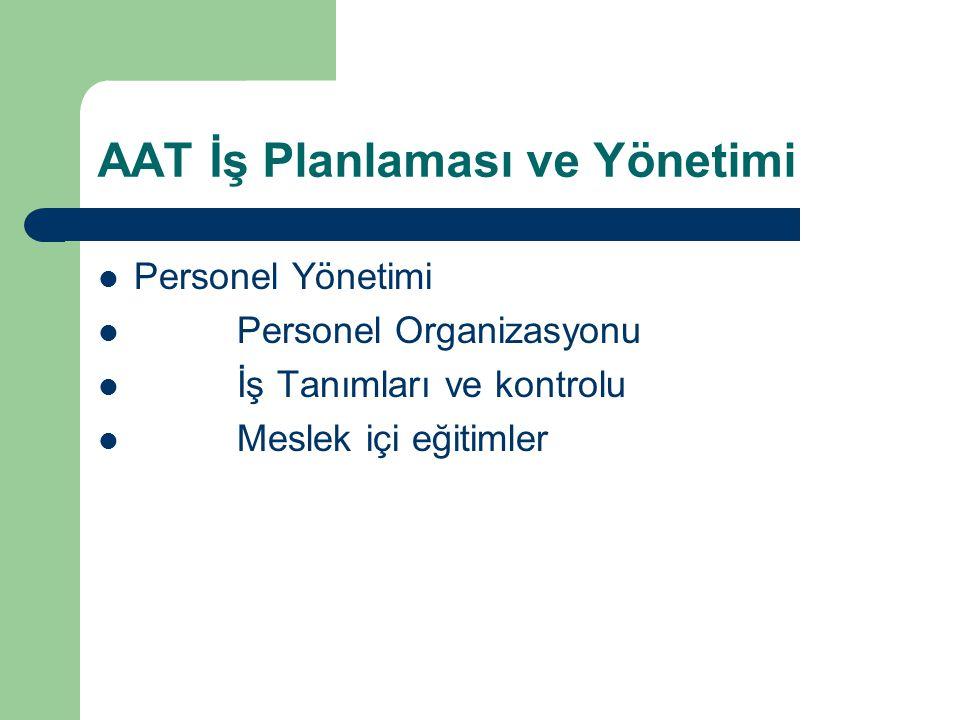 AAT İş Planlaması ve Yönetimi Personel Yönetimi Personel Organizasyonu İş Tanımları ve kontrolu Meslek içi eğitimler