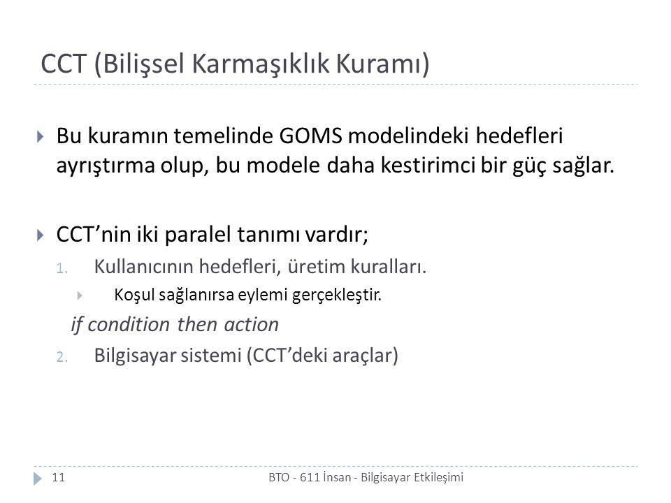 CCT (Bilişsel Karmaşıklık Kuramı)  Bu kuramın temelinde GOMS modelindeki hedefleri ayrıştırma olup, bu modele daha kestirimci bir güç sağlar.  CCT'n
