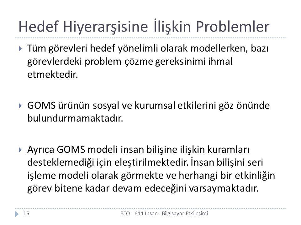 Hedef Hiyerarşisine İlişkin Problemler  Tüm görevleri hedef yönelimli olarak modellerken, bazı görevlerdeki problem çözme gereksinimi ihmal etmektedi