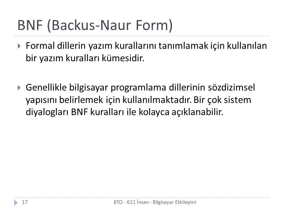 BNF (Backus-Naur Form)  Formal dillerin yazım kurallarını tanımlamak için kullanılan bir yazım kuralları kümesidir.  Genellikle bilgisayar programla