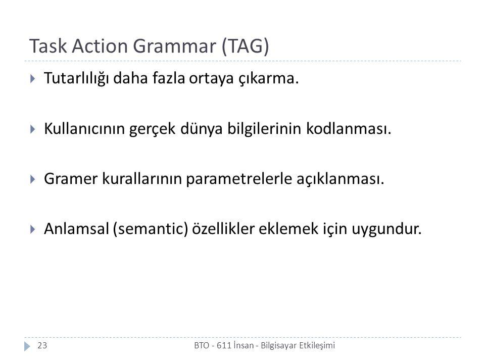 Task Action Grammar (TAG) BTO - 611 İnsan - Bilgisayar Etkileşimi23  Tutarlılığı daha fazla ortaya çıkarma.  Kullanıcının gerçek dünya bilgilerinin