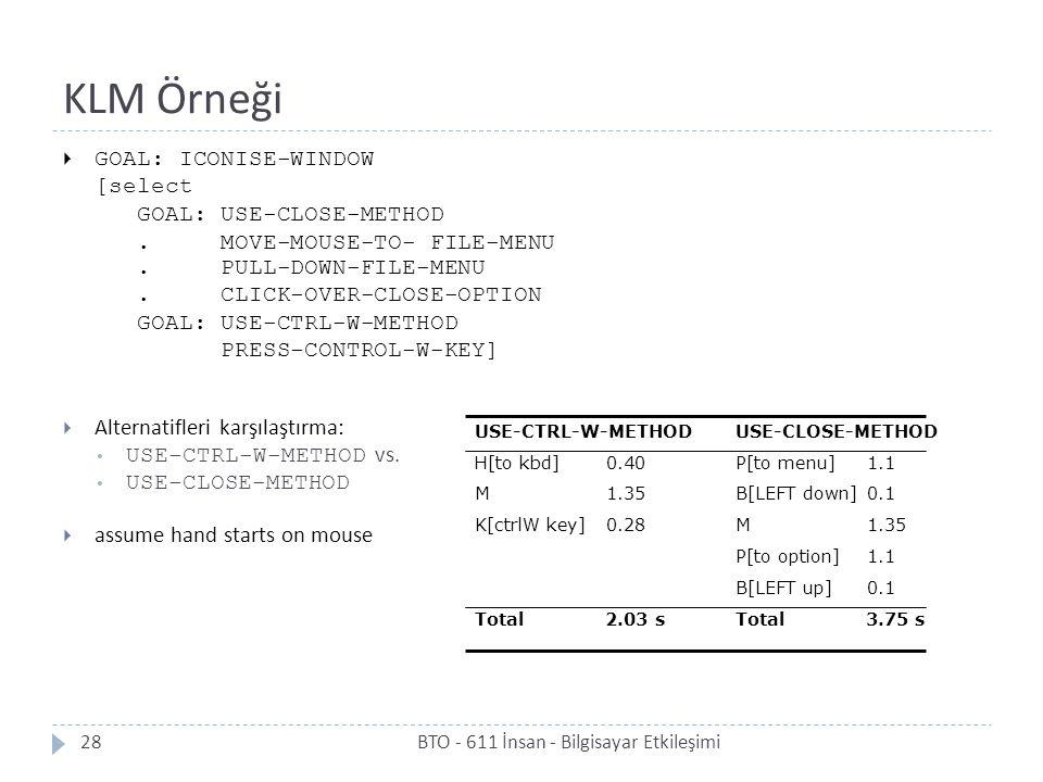 KLM Örneği BTO - 611 İnsan - Bilgisayar Etkileşimi28  GOAL: ICONISE-WINDOW [select GOAL: USE-CLOSE-METHOD. MOVE-MOUSE-TO- FILE-MENU. PULL-DOWN-FILE-M