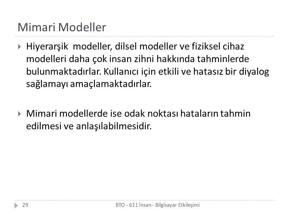 Mimari Modeller BTO - 611 İnsan - Bilgisayar Etkileşimi29  Hiyerarşik modeller, dilsel modeller ve fiziksel cihaz modelleri daha çok insan zihni hakk