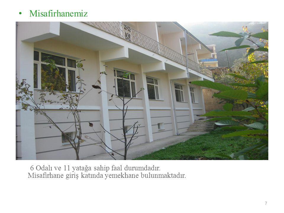 Misafirhanemiz 6 Odalı ve 11 yatağa sahip faal durumdadır. Misafirhane giriş katında yemekhane bulunmaktadır. 7