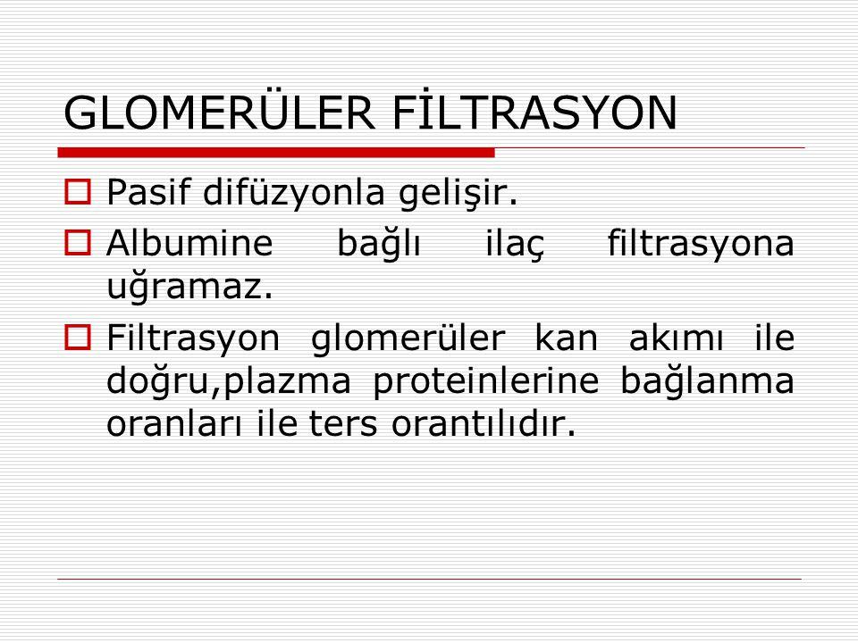 GLOMERÜLER FİLTRASYON  Pasif difüzyonla gelişir. Albumine bağlı ilaç filtrasyona uğramaz.