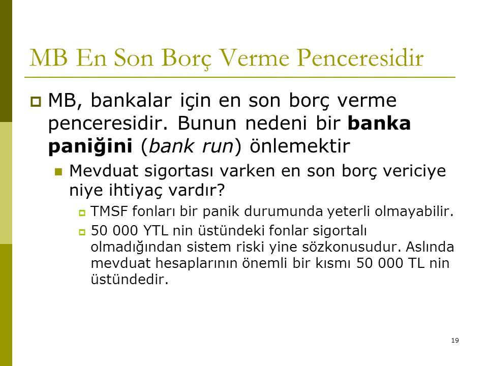 19 MB En Son Borç Verme Penceresidir  MB, bankalar için en son borç verme penceresidir. Bunun nedeni bir banka paniğini (bank run) önlemektir Mevduat