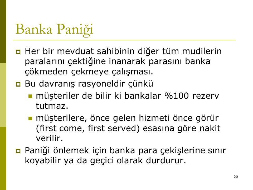 20 Banka Paniği  Her bir mevduat sahibinin diğer tüm mudilerin paralarını çektiğine inanarak parasını banka çökmeden çekmeye çalışması.