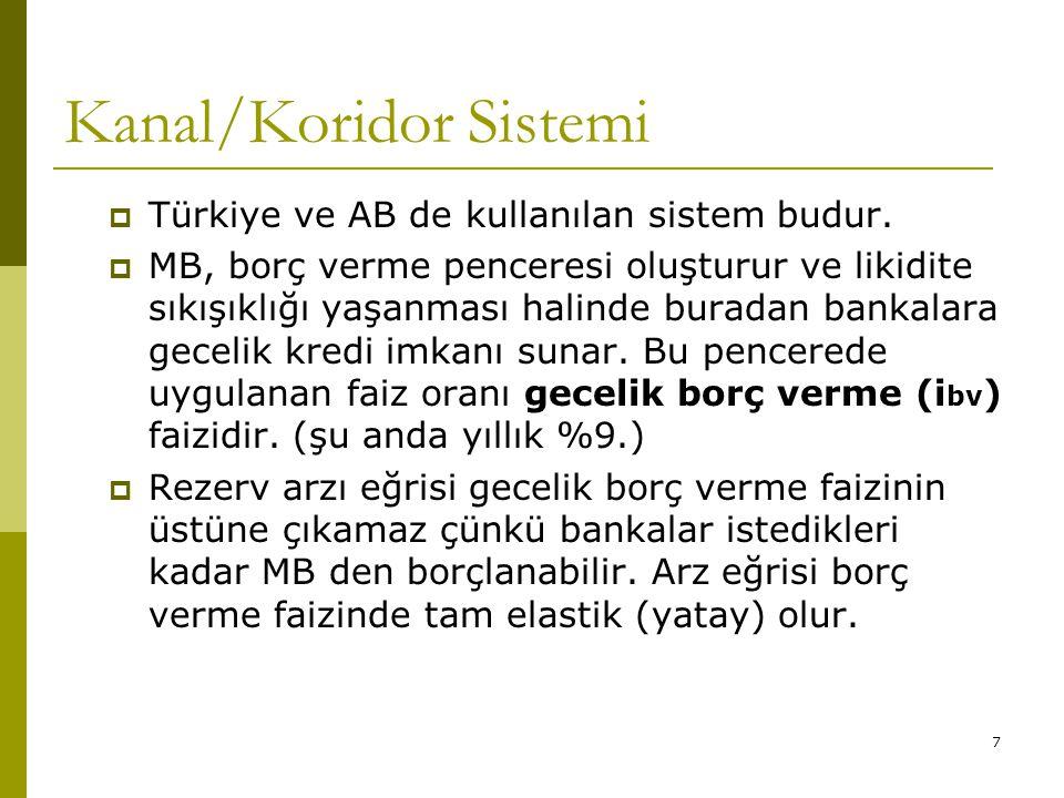 7 Kanal/Koridor Sistemi  Türkiye ve AB de kullanılan sistem budur.  MB, borç verme penceresi oluşturur ve likidite sıkışıklığı yaşanması halinde bur