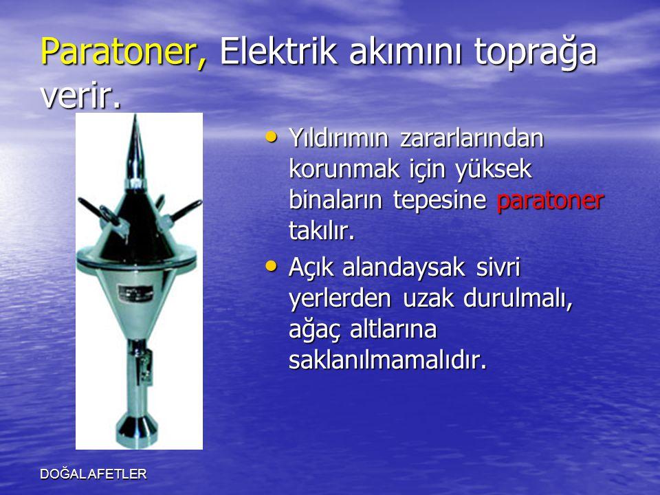 DOĞAL AFETLER Paratoner, Elektrik akımını toprağa verir. Yıldırımın zararlarından korunmak için yüksek binaların tepesine paratoner takılır. Yıldırımı