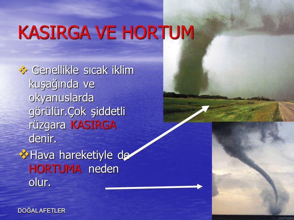 DOĞAL AFETLER KASIRGA VE HORTUM  Genellikle sıcak iklim kuşağında ve okyanuslarda görülür.Çok şiddetli rüzgara KASIRGA denir.  Hava hareketiyle de H
