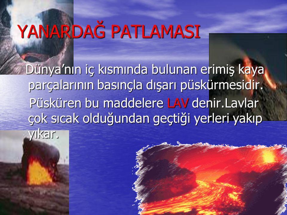 DOĞAL AFETLER YANARDAĞ PATLAMASI Dünya'nın iç kısmında bulunan erimiş kaya parçalarının basınçla dışarı püskürmesidir. Dünya'nın iç kısmında bulunan e