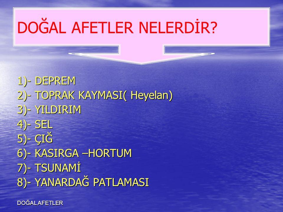 DOĞAL AFETLER 1)- DEPREM 2)- TOPRAK KAYMASI( Heyelan) 3)- YILDIRIM 4)- SEL 5)- ÇIĞ 6)- KASIRGA –HORTUM 7)- TSUNAMİ 8)- YANARDAĞ PATLAMASI DOĞAL AFETLE