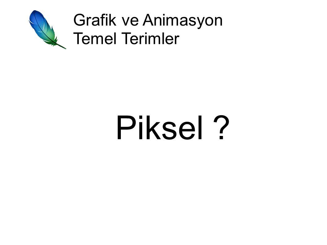 Grafik ve Animasyon Temel Terimler Piksel Ekranda kontrol edilebilen en küçük noktalara piksel denir.