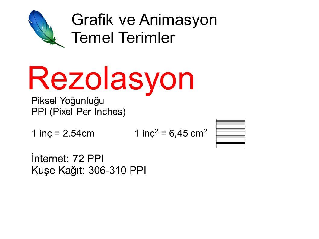 Grafik ve Animasyon Temel Terimler Rezolasyon Piksel Yoğunluğu PPI (Pixel Per Inches) 1 inç = 2.54cm 1 inç 2 = 6,45 cm 2 İnternet: 72 PPI Kuşe Kağıt: 306-310 PPI