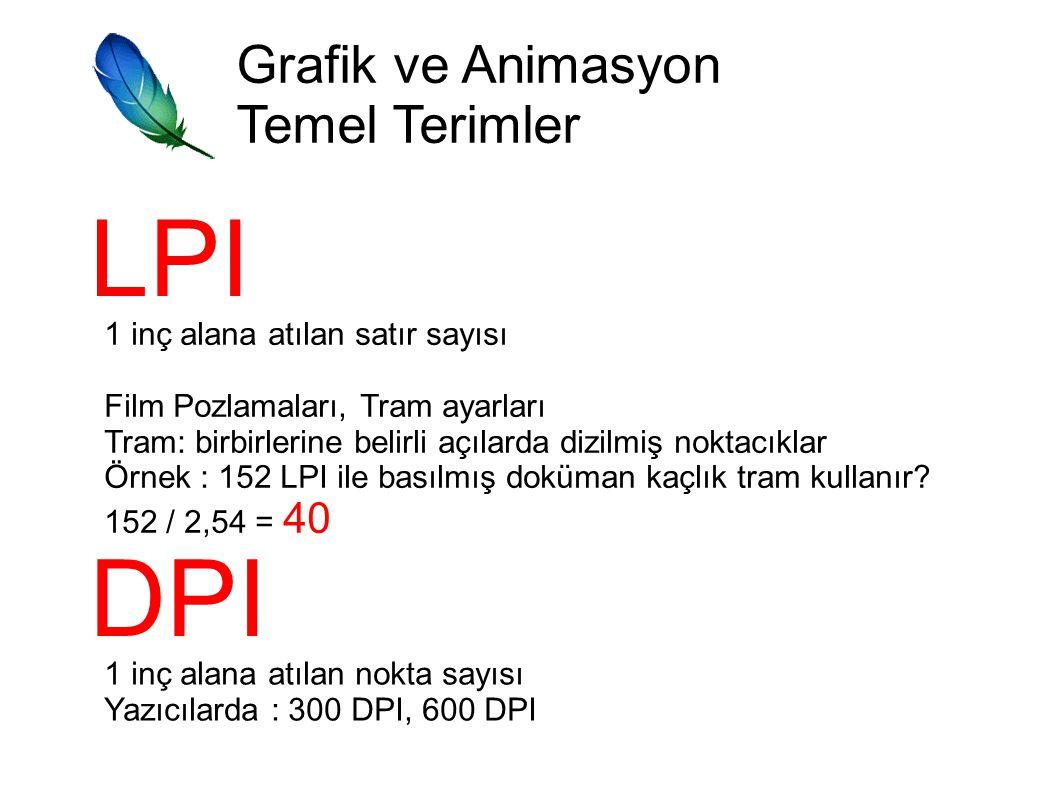 Grafik ve Animasyon Temel Terimler LPI 1 inç alana atılan satır sayısı Film Pozlamaları, Tram ayarları Tram: birbirlerine belirli açılarda dizilmiş noktacıklar Örnek : 152 LPI ile basılmış doküman kaçlık tram kullanır.